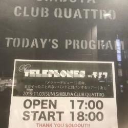 the telephones 「メジャーデビュー10周年、まだやったことのないバンドと対バンするツアー(決)」 渋谷CLUB QUATTRO 2019.11.3